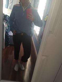 Rootd: Equitation lesson White polo, Vineyard Vines Shep shirt, Louis Vuitton belt, Tailored Sportsman Boysenberry breeches