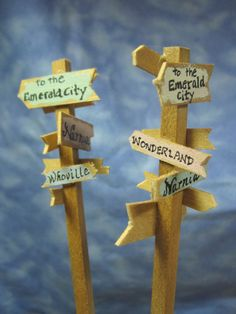 ❤️So adorable.  Signpost for Fairy Gardens by WeeBrigadoon on Etsy, $10.00