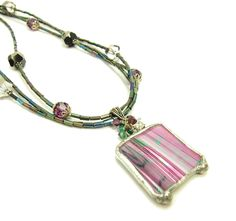 Purple Stained Glass Necklace with Black & Green Crystals