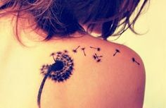 blowing dandelion tattoo idea // design for women...I love this b/c it reminds me of one of Mikayla's favorite things to do in spring