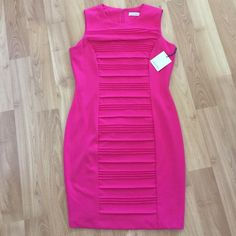 NWT Calvin Klein magenta sheath Perfect for spring! Magenta sheath with pleats for a flattering fit. Reasonable offers accepted! Calvin Klein Dresses
