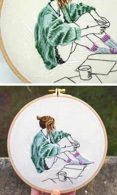 Contemporary Embroidery Art by JollyHoopsShop Embroidery Materials, Embroidery Patterns Free, Embroidery Fashion, Hand Embroidery Stitches, Embroidery Hoop Art, Hand Embroidery Designs, Embroidery Techniques, Cross Stitch Embroidery, Hand Stitching