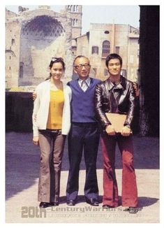 Bruce Lee and producer Raymond Chow and co star actress of Return of the Dragon (Way of the Dragon) Nora Miao.