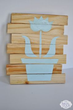 So easy to create beautiful artwork like this with wood shims and paint #crafts #stencils  justusfourblog.com