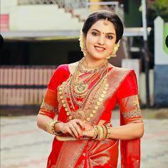 Brides Of Kerala ( Kerala Hindu Bride, South Indian Bride Saree, Indian Bridal Sarees, Wedding Silk Saree, Kerala Saree Blouse Designs, Sari Blouse, Malayali Bride, Saree Jewellery, Bridal Jewellery