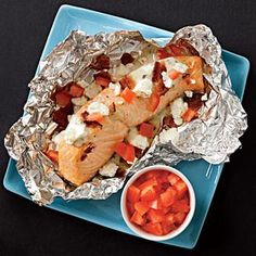 Grilled Salmon, Bacon & Feta Packets | http://www.rachaelraymag.com/Recipes/rachael-ray-magazine-recipe-search/five-ingredient-recipes/grilled-salmon--bacon---feta-packets