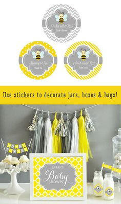 Bumble Bee labels are great for decorating your own bumble bee baby shower favors! They can easily be applied to favor boxes, goody bags, milk bottles