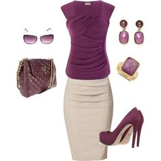 Another cream pencil skirt work outfit