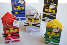 Check out our ninjago party supplies selection for the very best in unique or custom, handmade pieces from our shops. Lego Ninjago, Ninjago Party, Kid Party Favors, Party Favor Bags, Birthday Party Goodie Bags, Lego Themed Party, Ninja Birthday Parties, Etsy, Kraft Bag