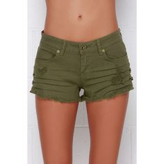 Billabong Lite Hearted Distressed Olive Green Cutoff Shorts ($39) ❤ liked on Polyvore featuring shorts, billabong, distressed shorts, billabong shorts, eyelet shorts and cut-off