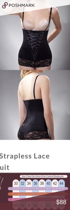5ad61181589f5 Strapless Lace Black Bodysuit Sensual lace up front bodysuit. Straps  included
