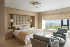 Magnificent nicole miller bedding in Bedroom Contemporary with Built Ins Around Bed next to Oversized Headboard alongside Beige Bedding and Bedroom Sitting Area