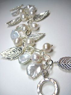 Precious Metal Clay Fine Silver Leaves with white keishi petal pearls charm bracelet