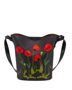 Flower-Embroidered+Bucket+Bag,+Black+by+Stella+McCartney+at+Neiman+Marcus.
