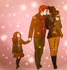 Ron and Hermione Weasley with Rose and Hugo... Words cannot describe how much I love this picture...