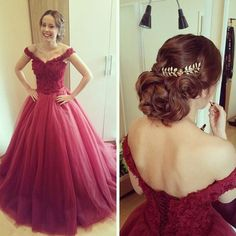Top Ball Gown Burgundy Tulle Appliques Lace Off-the-shoulder Prom Dress