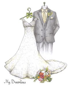 Lace a-line bridal gown with groom, bouquet and brooch sketch by Catie Stricker-Howell. First anniversary gift from groom to bride. Wedding Dress Illustrations, Wedding Dress Sketches, Wedding Images, Wedding Cards, Wedding Styles, Gift Wedding, A Line Bridal Gowns, Wedding Gowns, Best Gift For Wife