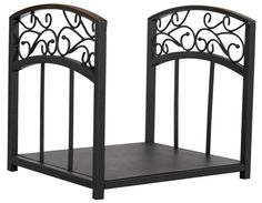 Uniflame® Black Wrought Iron Fire Wood Holder Log Rack with Hammered Copper Scrollwork