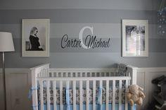 Project Nursery - Boy Gray Striped Nursery Monogrammed Wall