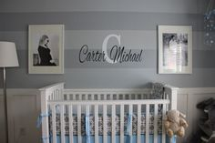 Project Nursery - Boy Gray Striped Nursery Monogrammed Wall