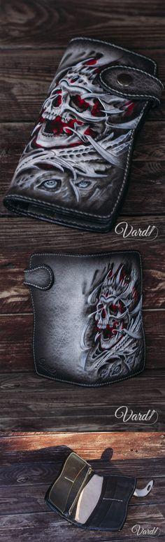 Handmade Leather Long wallet for men Biker Leather Wallets, Skull  Handcrafted leather wallet, EMBOSS grim reaper Vardi Craft Handmade long leather wallet man, girl vintage gray long wallet