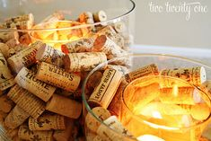 Wine cork candle holders - beautiful for a garden party or a wedding.