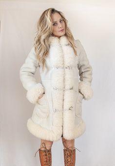 70s White Shearling Princess Coat - Penny Lane Fur Trim Coat