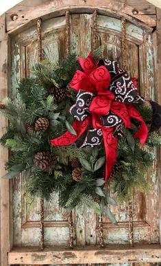 the marisol black red white swirl christmas bow for wreaths plaid christmas winter christmas - Large Outdoor Christmas Wreath