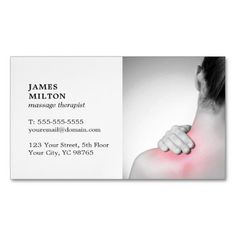 #professional - #Modern Elegant Whitw Photo Massage Therapist Magnetic Business Card