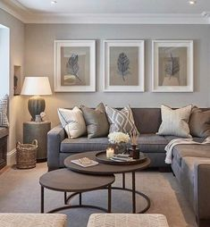 Contemporary living room colors modern grey and tan living room interior design living room color scheme . Earthy Living Room, Elegant Living Room, Living Room On A Budget, Cozy Living Rooms, Home Living Room, Apartment Living, Interior Design Living Room, Modern Interior, Beige And Grey Living Room