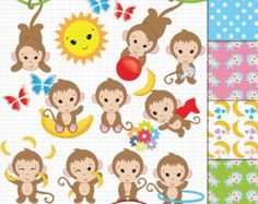 Funky Monkey Clipart and Digital paper set by pixelpaperprints