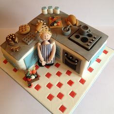 Kitchen themed cake for a chef - inspired by Shereen's Cakes & Bakes Cake Icing, Fondant Cakes, Cupcake Cakes, Funny Birthday Cakes, My Birthday Cake, Crazy Cakes, Fancy Cakes, Anti Gravity Cake, Chef Cake