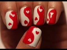 Valentine's Day Yin Yang Heart Nails