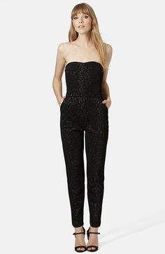 Topshop Glittery Bandeau Jumpsuit available at #Nordstrom