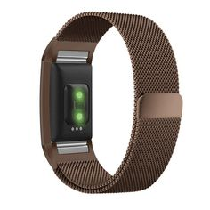 Fitbit Charge 2 Band, UMTELE Milanese Loop Stainless Steel Metal Bracelet Strap with Unique Magnet Lock, No Buckle Needed for HR Fitness Tracker Coffee