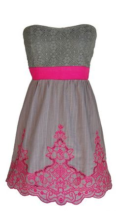 Gray & Pink Embroidery Strapless Dress
