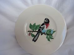 Handpainted Bird Plate Rose Breasted Grosbeak  Donald Smith New Hartford New York Made in 1960 by GrandmothersTable on Etsy
