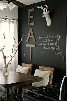 Love the EAT and chalkboard. must love junk: Saturday Spotlight: Kate from Salvage Dior -- eat in kitchen decor
