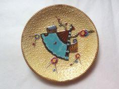 Antique Fielding Fan Insect Clipper Ship Majolica Plate c.1800's, em54 #AestheticMovement #Fielding