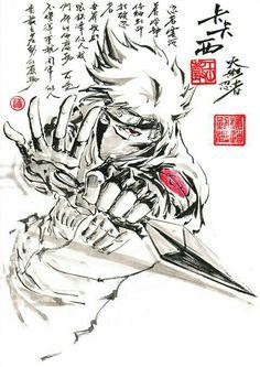 Hatake Kakashi, Sharingan, kunai, text; Naruto