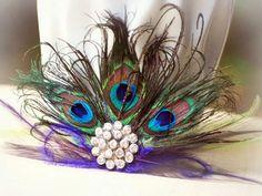 Statement Peacock Fan Fascinator Couture Bride by sofisticata, $50.00
