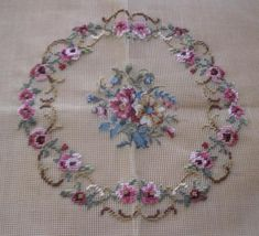 Items similar to Vintage pre-worked needlepoint. on Etsy Delphinium, Cross Stitch Designs, Main Colors, Needlepoint, Embroidery Designs, Wool, This Or That Questions, Floral, Pattern
