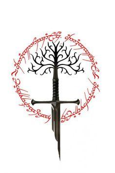 Lord of the rings sword of the king the white tree of gondor and ring of power Herr der Ringe Schwert des Königs der weiße Baum von Gondor und Ring der Macht Tolkien Tattoo, Tatouage Tolkien, Lotr Tattoo, J. R. R. Tolkien, Diy Tattoo, Tree Of Gondor Tattoo, Ring Tattoos, Body Art Tattoos, Geek Tattoos
