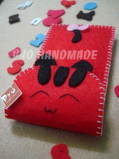 Bel gatto Pyo handmade feltro caso telefono cellulare, personalizzato, eco-friendly, Iphone, Ipad, Ipod, Kindle, tablet