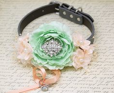 Mint Peach Ring bearer Beach wedding Dog Collar Proposal