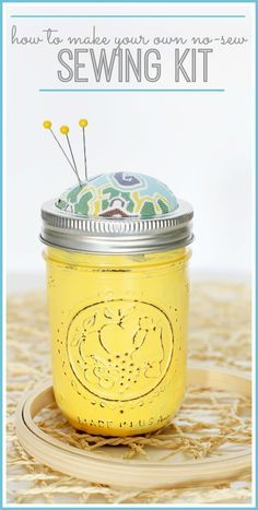 YES! A NO-Sew Sewing Kit made out of a mason jar - it's way fun and easy to put together - great gift idea! Learn how to make one yourself,…