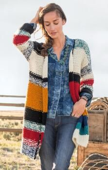 Embrace the warm, cheery comfort of our drapey, colorful cardigan.