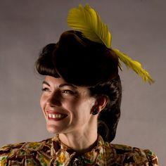 Vintage 1940s Hat Mouton Fur Chartreuse Feathers
