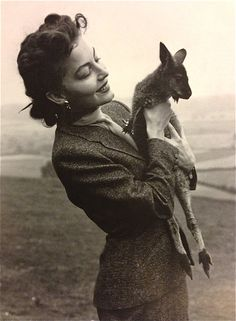 Ava Gardner and a  baby kangaroo.
