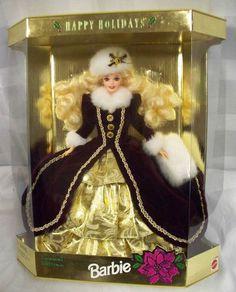 Happy Holidays 1996 Blonde Barbie15646 Special Edition Burgundy/Gold Dress NIB $0.98
